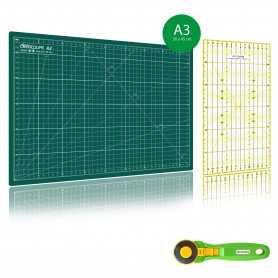 Kit de couture Tapis de découpe VERT A3 (30x45cm), cutter rotatif 45mm et règle patchwork 15x30cm
