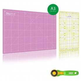 Kit de couture Tapis de découpe ROSE A3 (30x45cm), cutter rotatif 45mm et règle patchwork 15x30cm