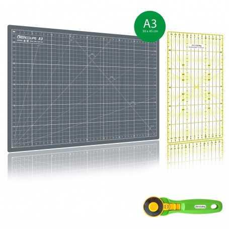 Kit de couture Tapis de découpe GRIS A3 (30x45cm), cutter rotatif 45mm et règle patchwork 15x30cm
