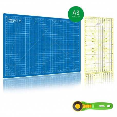Kit de couture Tapis de découpe BLEU A3 (30x45cm), cutter rotatif 45mm et règle patchwork 15x30cm