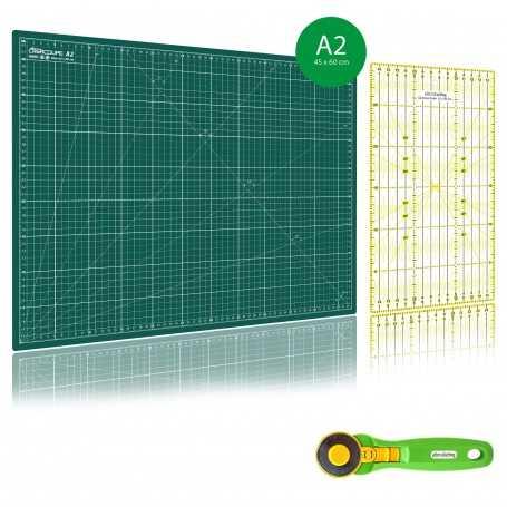 Kit de couture Tapis de découpe VERT A2 (45x60cm), cutter rotatif 45mm et règle patchwork 15x30cm