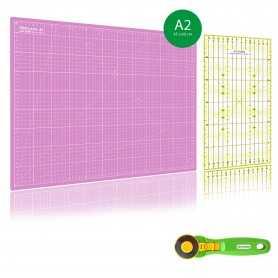 Kit de couture Tapis de découpe ROSE A2 (45x60cm), cutter rotatif 45mm et règle patchwork 15x30cm