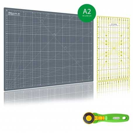 Kit de couture Tapis de découpe GRIS A2 (45x60cm), cutter rotatif 45mm et règle patchwork 15x30cm