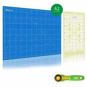 Kit de couture Tapis de découpe BLEU A2 (45x60cm), cutter rotatif 45mm et règle patchwork 15x30cm