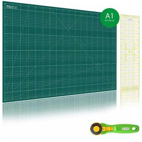 Kit de couture Tapis de découpe VERT A1 (60x90cm), cutter rotatif 45mm et règle patchwork 15x60cm