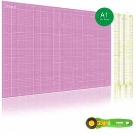 Kit de couture Tapis de découpe ROSE A1 (60x90cm), cutter rotatif 45mm et règle patchwork 15x60cm