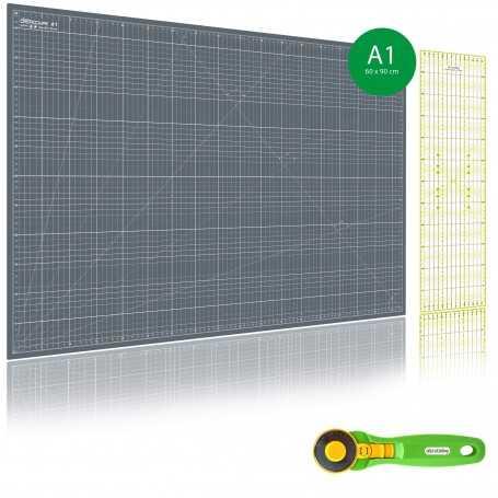 Kit de couture Tapis de découpe GRIS A1 (60x90cm), cutter rotatif 45mm et règle patchwork 15x60cm