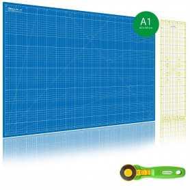 Kit de couture Tapis de découpe BLEU A1 (60x90cm), cutter rotatif 45mm et règle patchwork 15x60cm
